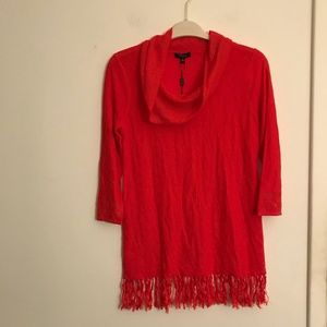 Cupio Ashberry Red Fringe Cowl Neck Sweater